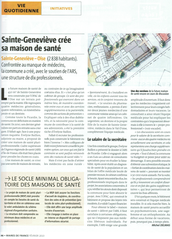 revue Maires de France février 2013